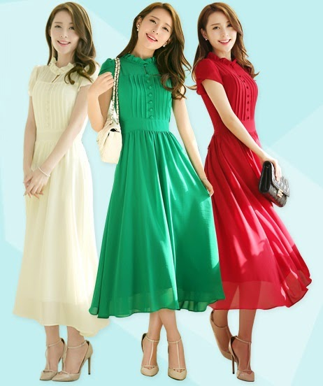 New Release 2014 Spring Short-Sleeved Chiffon Slim Midi Dress
