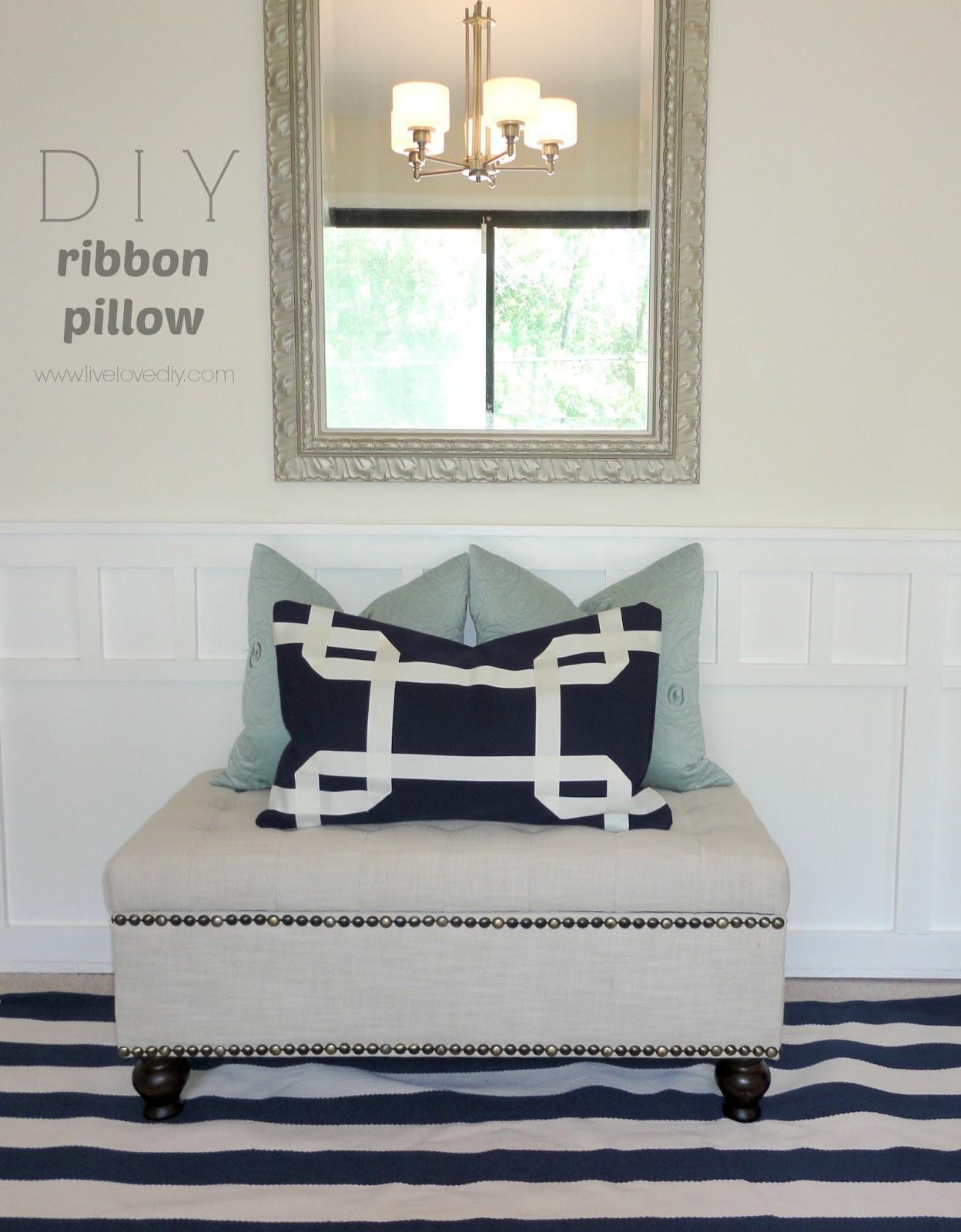 Live Love Diy No Sew Pillow: LiveLoveDIY  DIY No Sew Greek Key Ribbon Pillows,