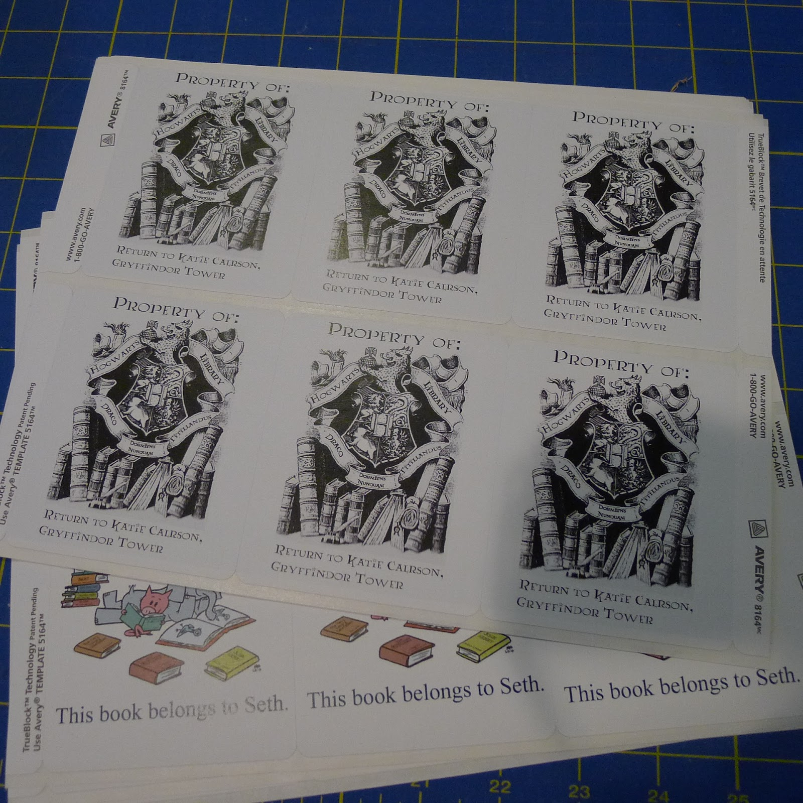 Harry Potter School Book Cover ~ Pieces by polly hogwarts library book plates free printable for