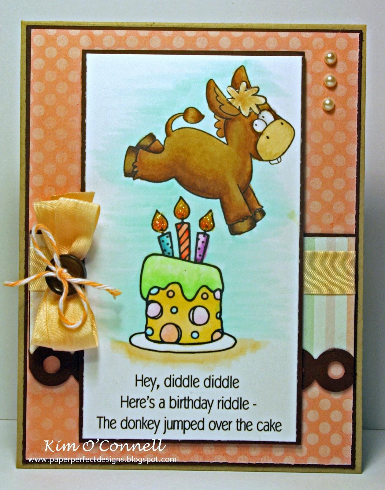Creative Smiles RCC42 The Donkey jumps over the cake – Donkey Birthday Card