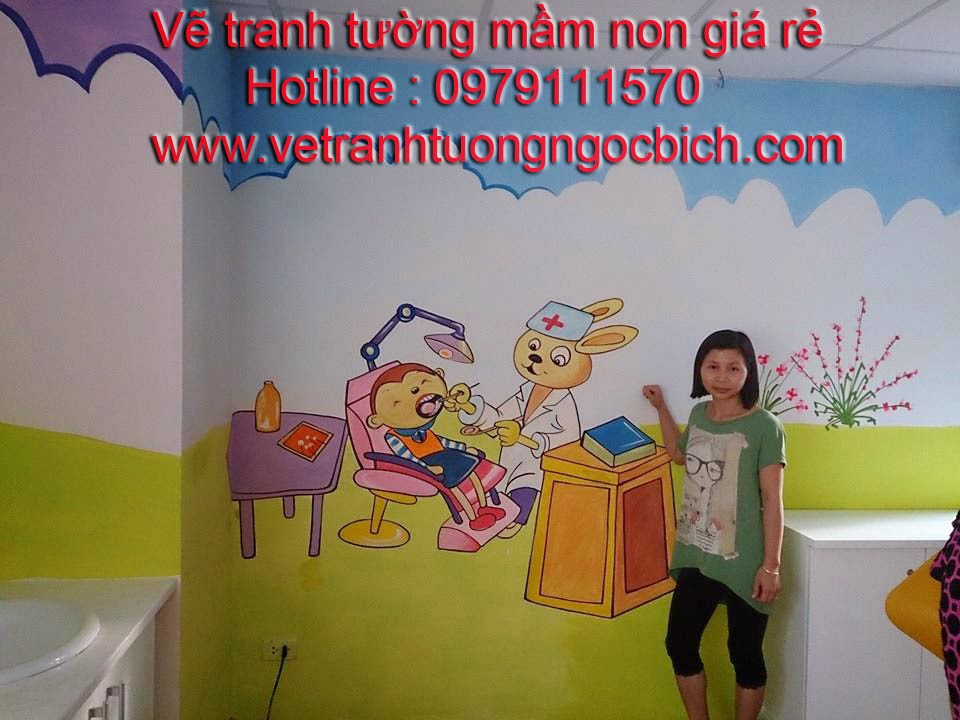 Vẽ tranh tường mầm non bệnh viện Medelab 03