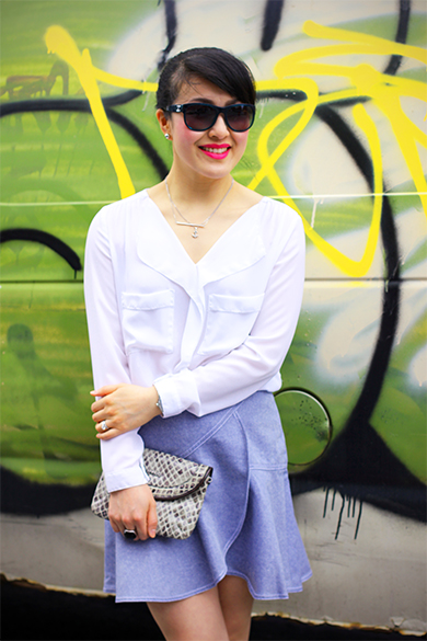 Zara white blouse with Club Monaco Liora skirt in denim
