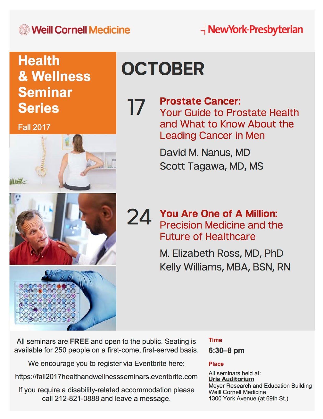 Weill Cornell Medicine/NY Presbyterian Free Health & Wellness Seminars