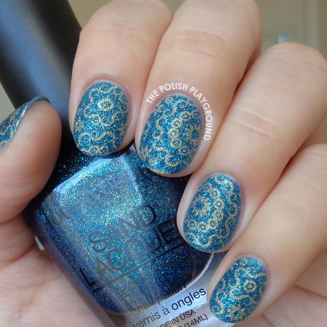 Dark Blue Texture with Gold Circular Stamping Nail Art