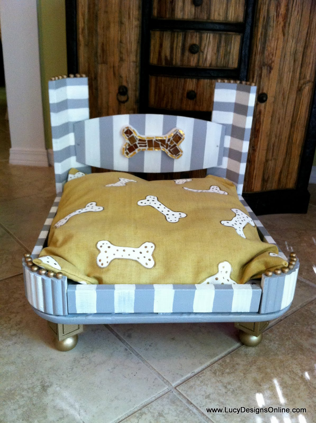 Hand made dog bed from an end table glam dog bed lucy for Making a dog bed out of a table