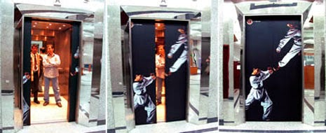 Shams Taekwondo School ads in elevators