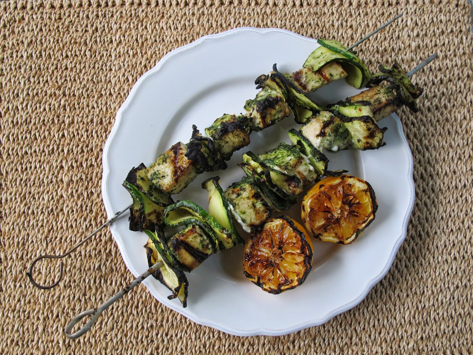 Grilled Swordfish & Zucchini Skewers with Cilantro Salsa Verde