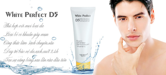 White Perfect D5 sữa rửa mặt trị mụn