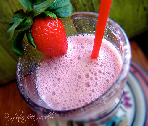 strawberry hemp milk smoothie