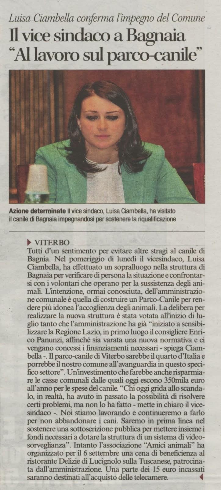 Viterbo: il Vice Sindaco Dott.ssa Luisa Ciambella a Bagnaia al lavoro sul parco canile