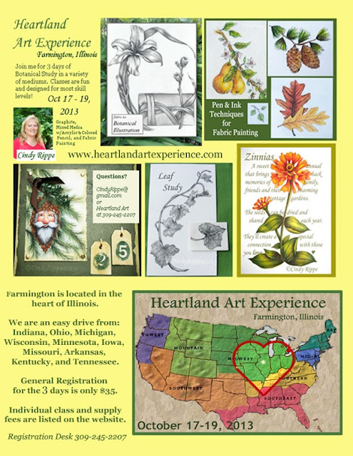 Learn to Draw Plants and Flowers, Mixed Media with Acrylic and Colored Pencil, Fabric Painting Pen & Ink, Cindy Rippe Teacher, Nature Santa, Pinecones, Botanical Art Classes for Beginner to Intermediate Students, Heartland Art Experience, Farmington Illinois, Cindy Rippe, Florals-Family-Faith