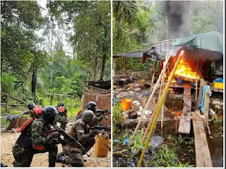 Soldiers attack militants, burn their shrine (see the photos)