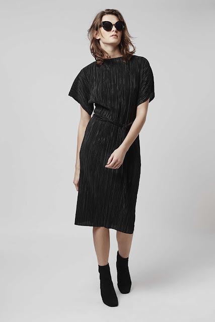 topshop black pleated dress, pleated midi dress,