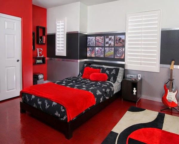 D coration chambre en rouge d cor de maison d coration for Chambre a coucher rouge et gris