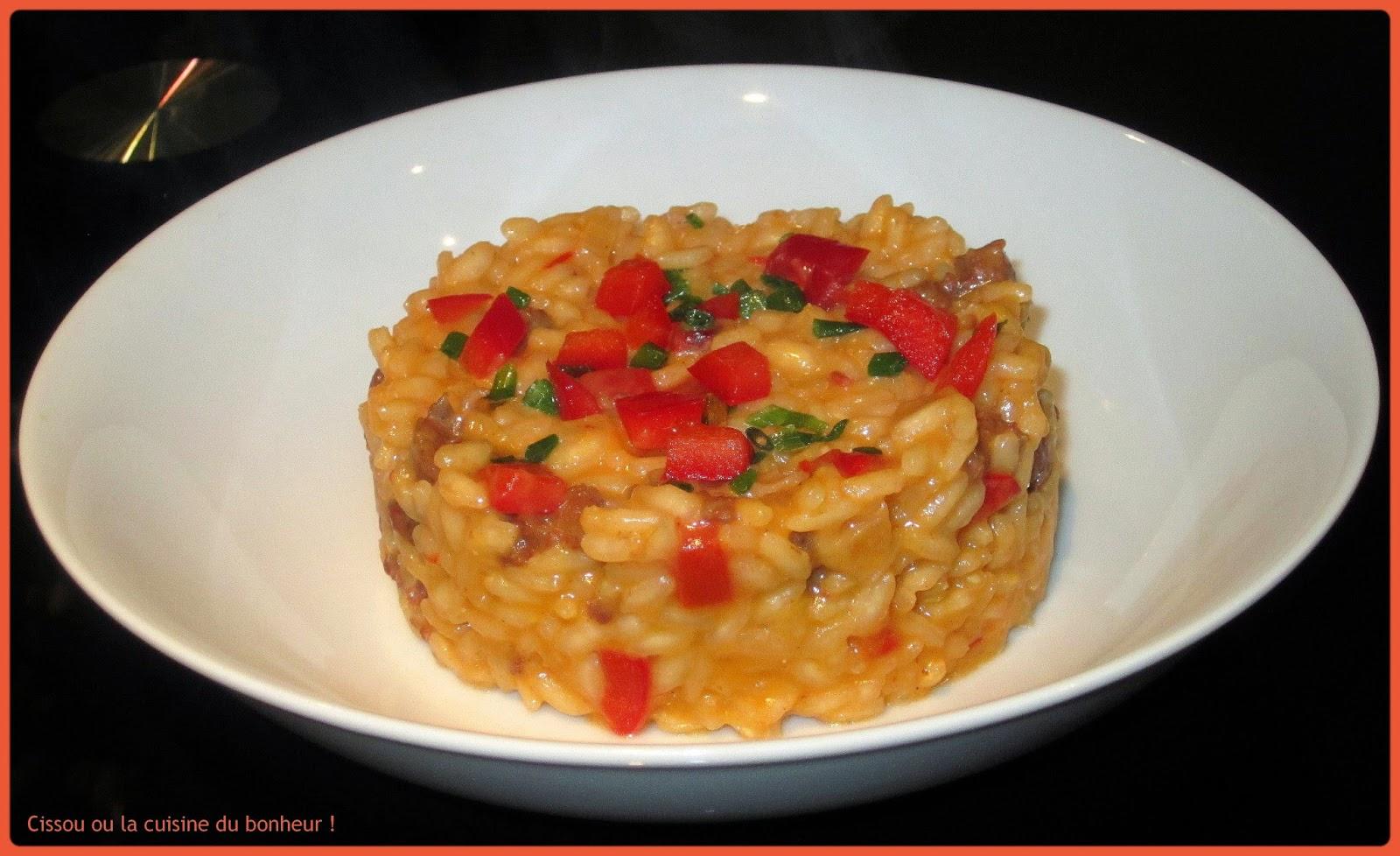 Cissou ou la cuisine du bonheur risotto merguez et poivron rouge - La cuisine du bonheur thermomix ...
