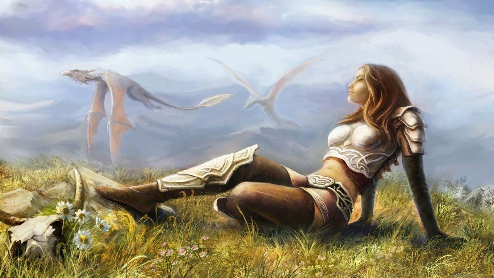 Girl And Dragon Fantasy Wallpaper