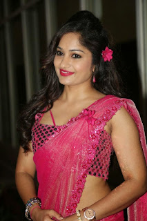 Actress Madhavi Latha Pictures in Pink Saree at Mosagallaku Mosagadu Audio Release Function  9.JPG