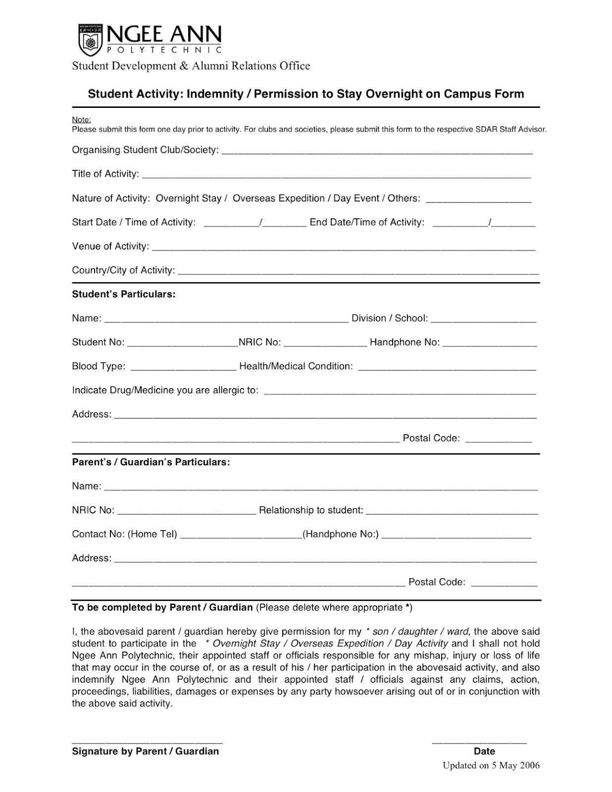 NP ARCHERY CLUB: Indemnity Form for Training Camp & NUS Indoor