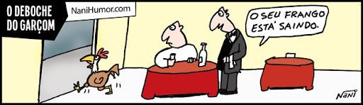 Tirinhas: Profissionais debochados. garçom