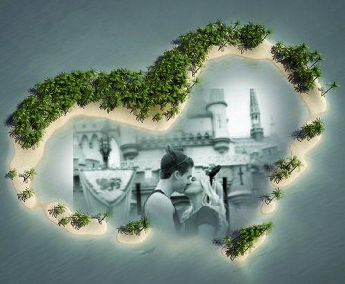 Moldura coração formando ilha