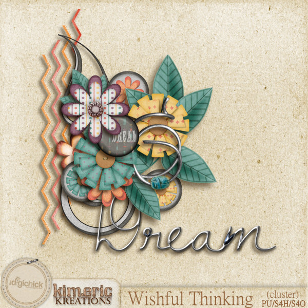 "Free scrapbook cluster ""Wishful Thinking"" from Kimeric Creations"