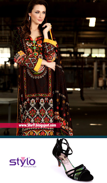 Firdous Printed Lawn Dress with Stylo Formal Heel