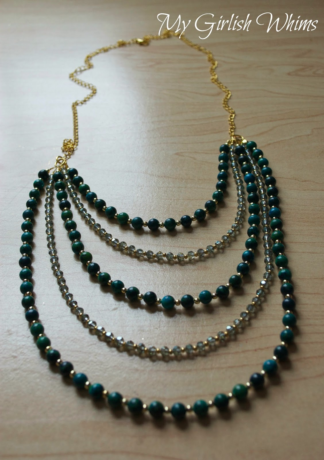 Diy beaded bib teal necklace my moms christmas present for Jewelry for mom for christmas