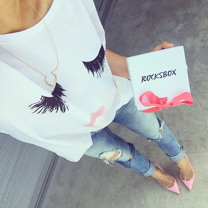 sincerely jules lips and kisses tee, blank denim distressed jeans, christian louboutin heels, gorjana necklace, rocksbox, fashion blog, from where i stand