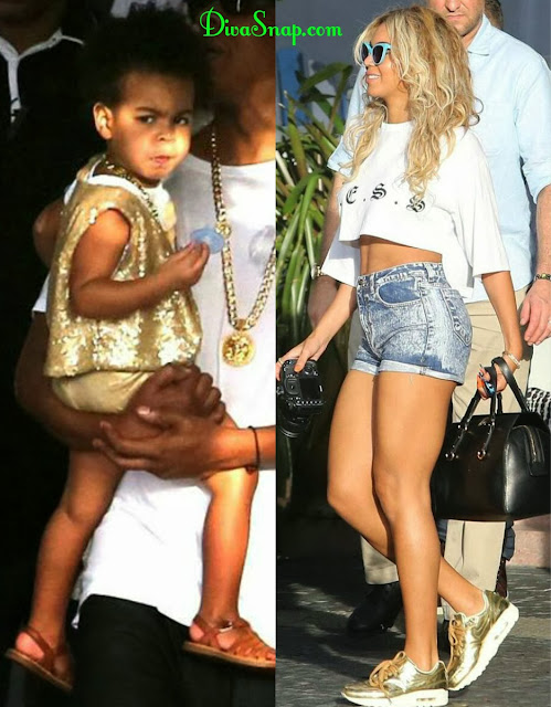 BEYONCE AND BLU IVY WAS GIVING LEGS AS  HEY ROCK MATCHING GOLD IN MIAMi-DivaSnap.com