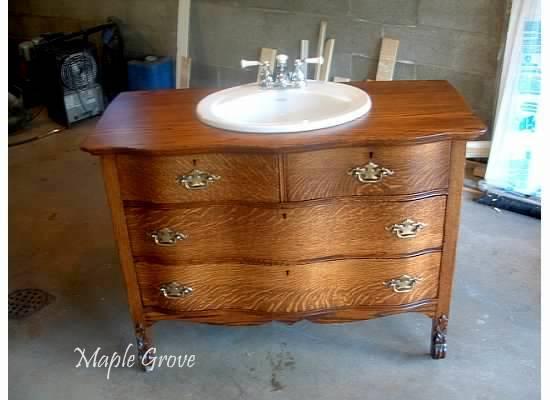 Maple grove antique dresser turned vanity for Antique dresser bathroom vanity