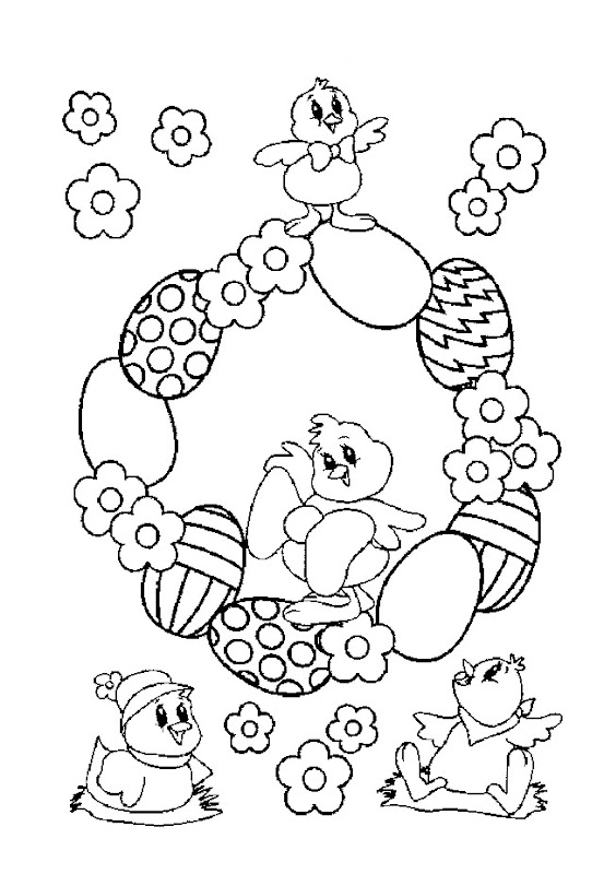 EASTER CHICKS AND EGGS COLORING PAGE title=