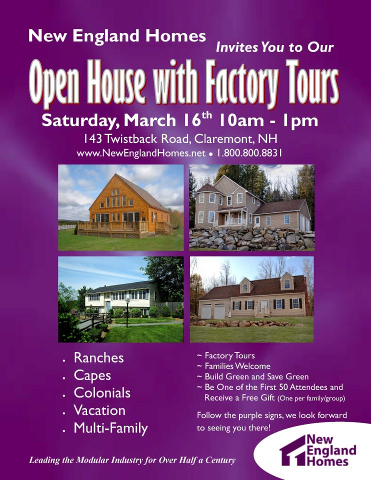 Modular home builder new england homes 39 march open house for New england home builders