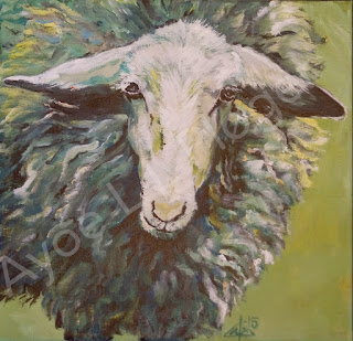 Maler. painting, modern art, kunst, får, sheep, orginal, grøn, vadehav, hede