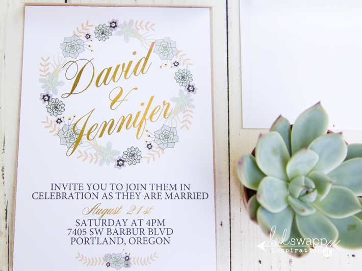 Gold Foiled wedding invitations made on a budget with the @heidiswapp Minc Foil Applicator Machine by @createoften