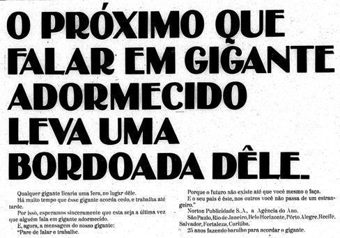 Propaganda da Norton Publicidade que ameaçava os pessimistas brasileiros nos anos 70.