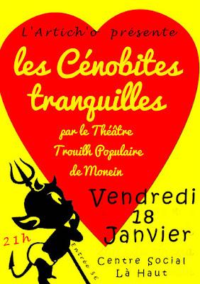 """soirée théatre le VENDREDI 18 JANVIER avec le Théatre Trouilh Populaire de Monein et leur pièce"""" Les Cénobites tranquilles"""""""