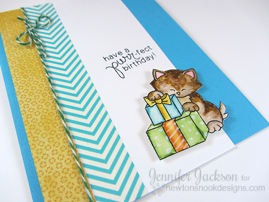 Purr-fect Kitty Birthday cards by Jennifer Jackson | Newton's Birthday Bash Stamp set by Newton's Nook designs