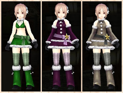 サンタ衣装緑1、紫1、灰色1