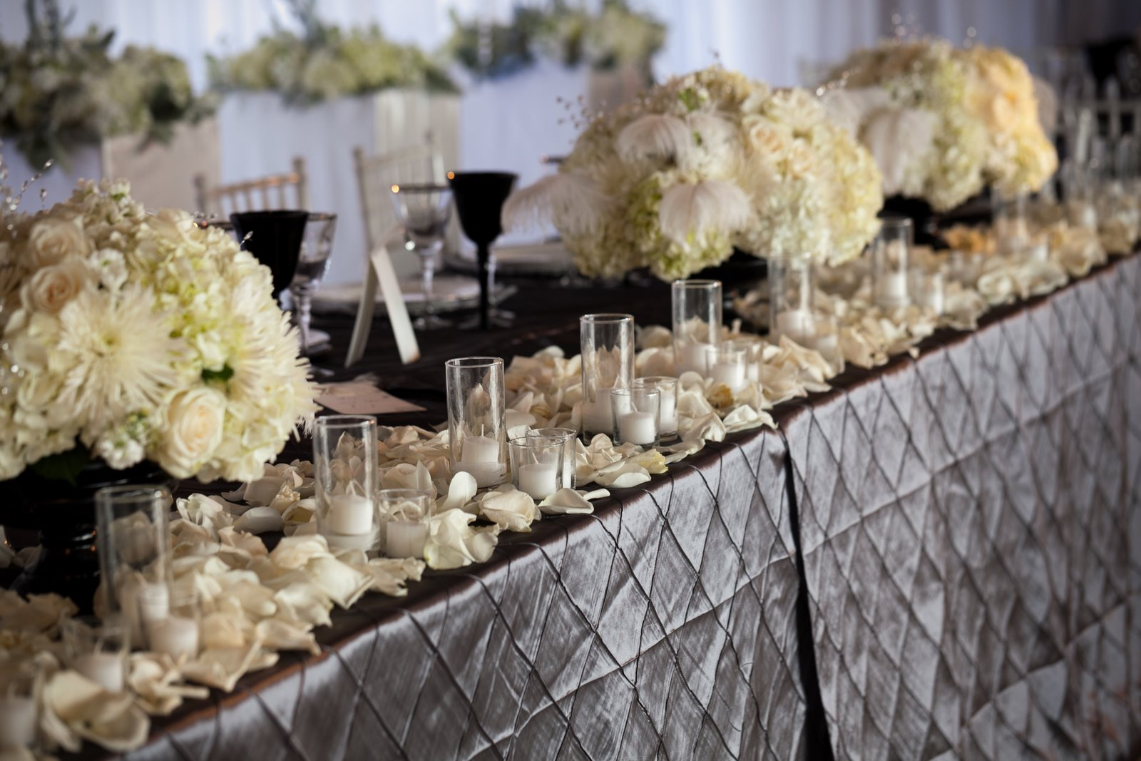 Covers and chivari chairs charcoal grey pintuck amp white florals