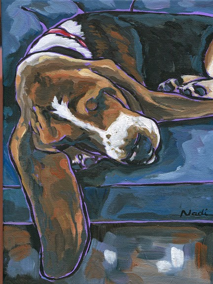 dog painting, Basset Hound