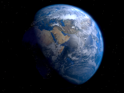 Simulated image of the Earth