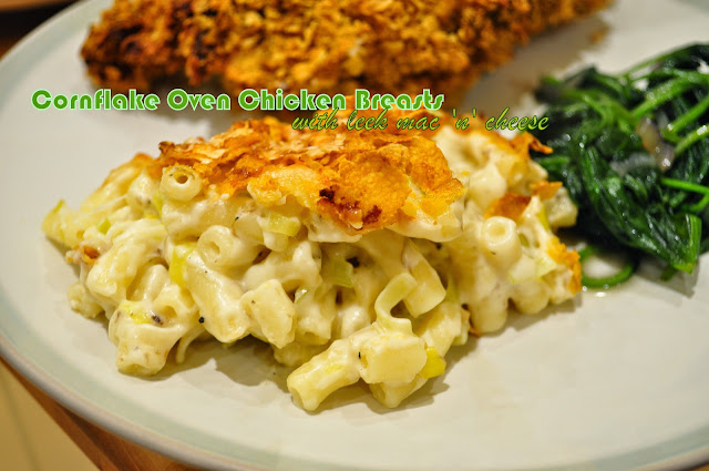Oven fried cornflake chicken and leek macaroni and cheese