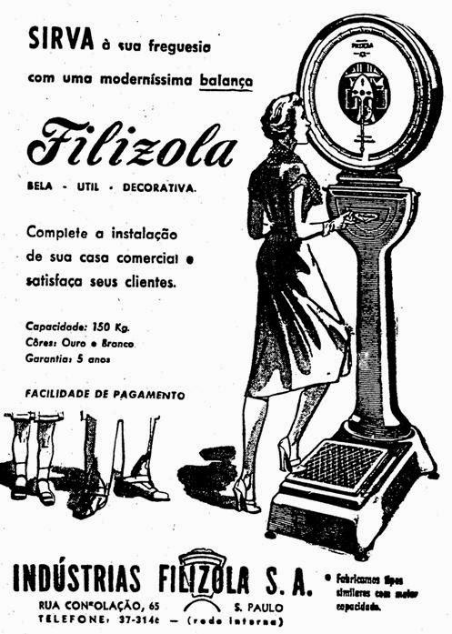 Propaganda das clássicas balanças de farmácia produzidas pela Filizola.