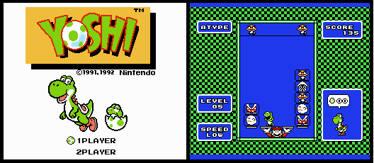 "Title screen and screenshot of ""A Type"" mode in the NES puzzle game Yoshi."