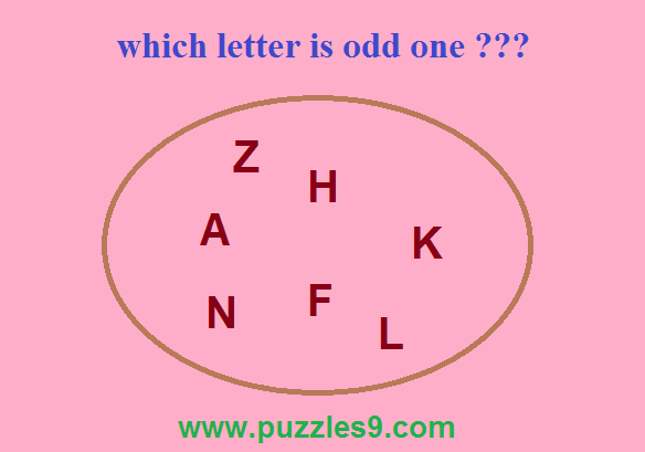 PUZZLE 49 - puzzles9 - find the odd letter out from the set of letters in the logical puzzle