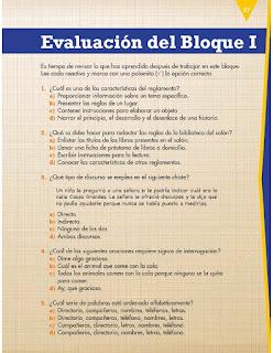 Apoyo Primaria Español 3er grado Bloque 1 Evaluación del Bloque I