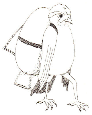 ink drawing of bird with an egg rocket