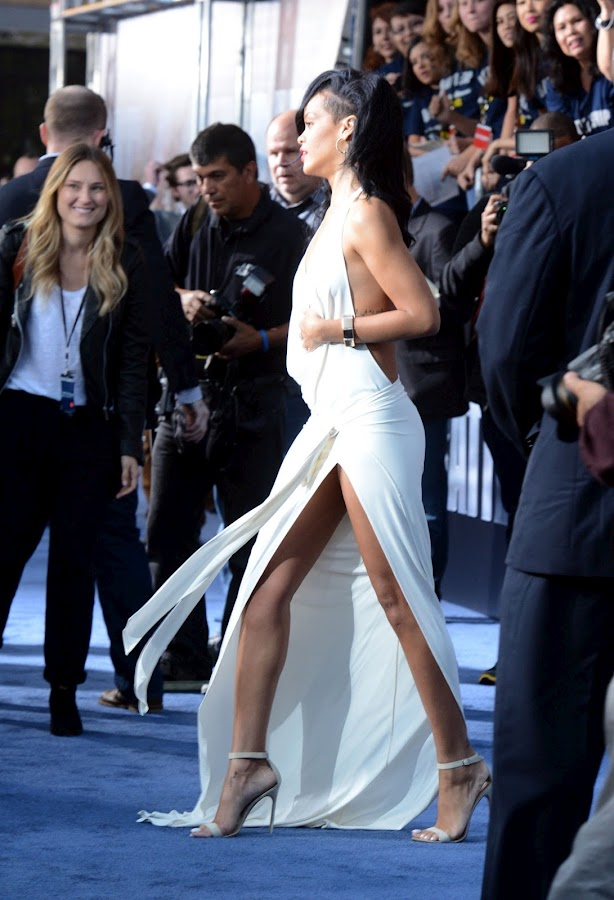 Rihanna in a white dress at the Battleship premiere in Los Angeles