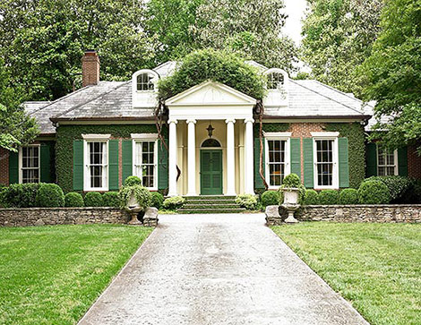 Good A Classically Detailed Cottage With Ivy Covered Walls  Is That Wysteria Or  Bouganville Climbing Over The Portico?