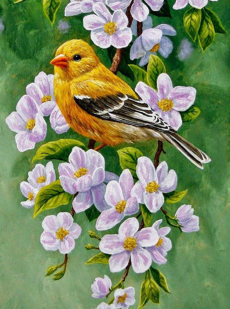 cuadro-pintado-con-flores-y-pajaros+pinturas-de-flores-y-pajaros